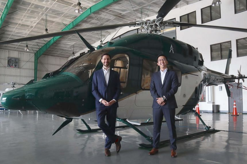 Ascent Urban Air Mobility founders, Frenchman Lionel Sinai-Sinelnikoff (left) and Singaporean Darren T'ng, believe the service would be useful in cities plagued by traffic jams.