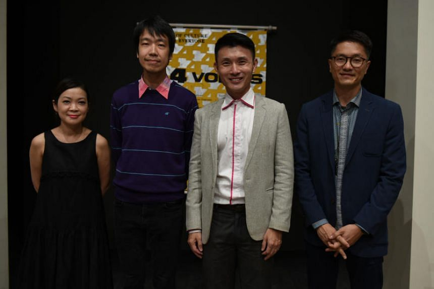 Curator Michelle Ho, artist Song-Ming Ang, Senior Parliamentary Secretary for Transport and Culture, Community and Youth Baey Yam Keng and National Arts Council deputy chief executive Paul Tan at the inauguration of the Singapore Pavilion at the Veni