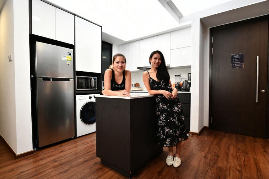 Ms Christine Tan, (right) a freelance digital marketer, with her flatmate, Mrs Chow Lee May Beatus, an accountant.