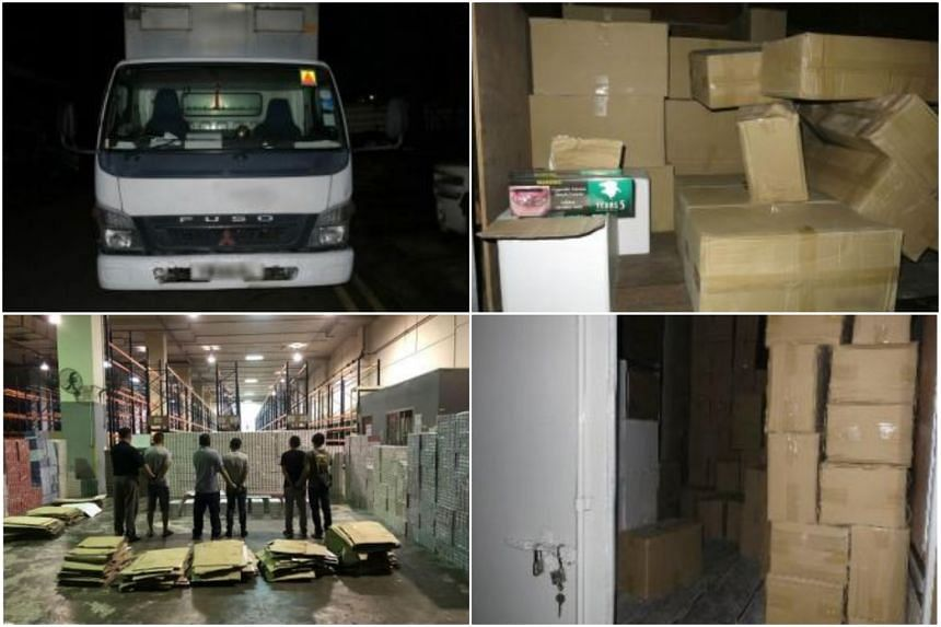 A total of 9,089 cartons and 18 packets of contraband cigarettes were seized, and three Chinese nationals aged between 31 and 36 were arrested.