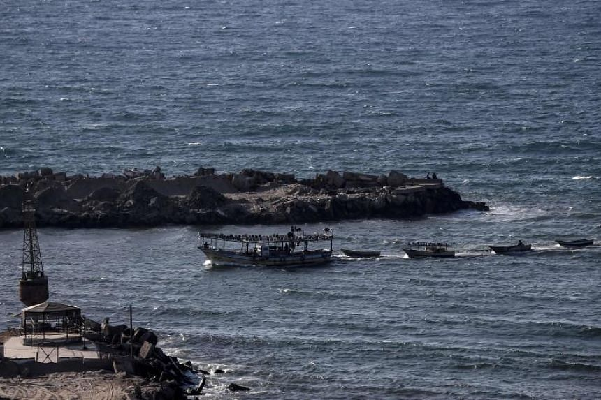Fishing boats returning to the port in Gaza City on May 4, 2019.