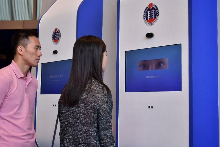 A mock-up of a self-service kiosk that allows customers to pick up passports and identification cards within an estimated 15 minutes at ICA's annual workplan seminar on, May 10, 2019.