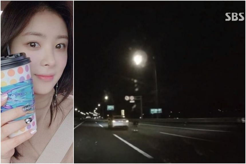 Actress Han Ji-seong was struck by a taxi and a sports utility vehicle after she stopped and alighted her car in the middle lane of an expressway.