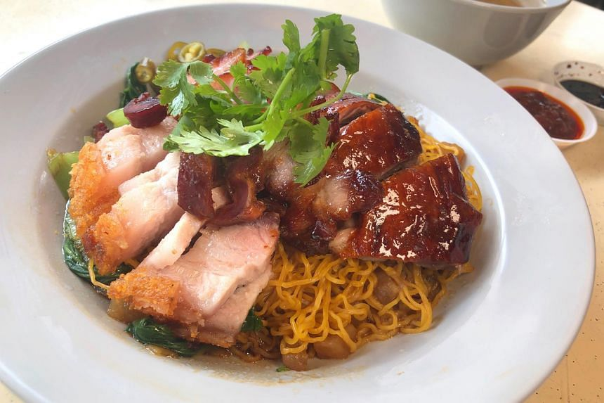 Dang Gui Roasted Duck & Char Siew Noodle with additional roasted pork belly from Hwa Heng Kei.
