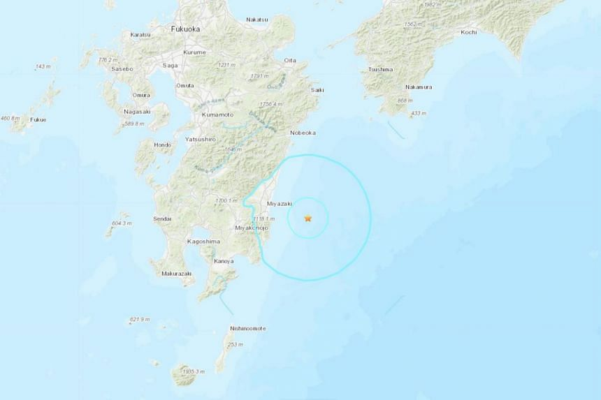 The quake struck at 8.48am local time (7.48am Singapore time), with its epicentre off the coast of Miyazaki prefecture at a depth of 20km.