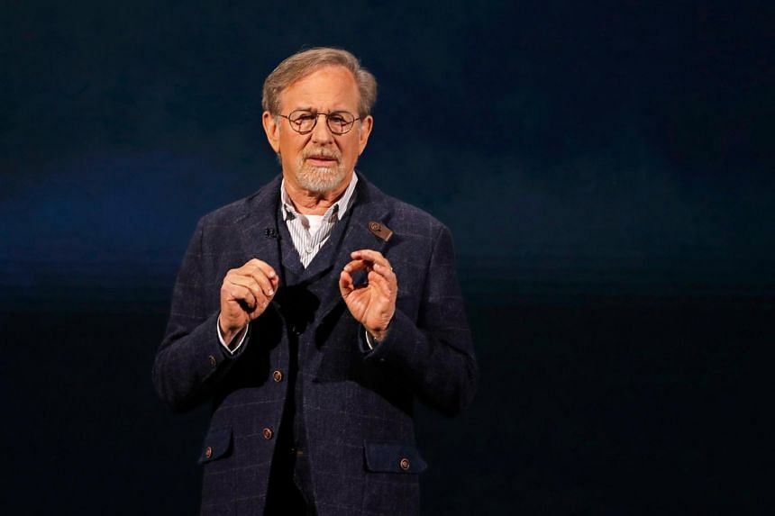 Director Steven Spielberg speaking at the Steve Jobs Theater in Cupertino, California, on March 25, 2019.