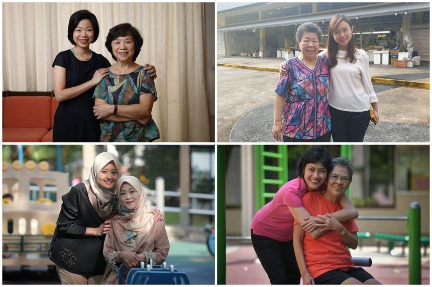 (Clockwise from top left) Holland-Bukit Timah GRC MP Sim Ann and her mother, Madam Choo Lian Liang, 71; MacPherson SMC MP Tin Pei Ling and her mother, Madam Yong Yuit Ngoh, 67; Tanjong Pagar GRC MP Joan Pereira and her mother, Florence Tan Siok Cheng