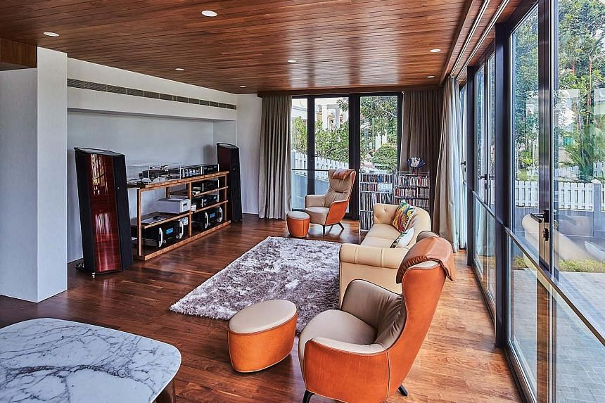 The entertainment and family room is where the owner spends time relaxing and listening to music.