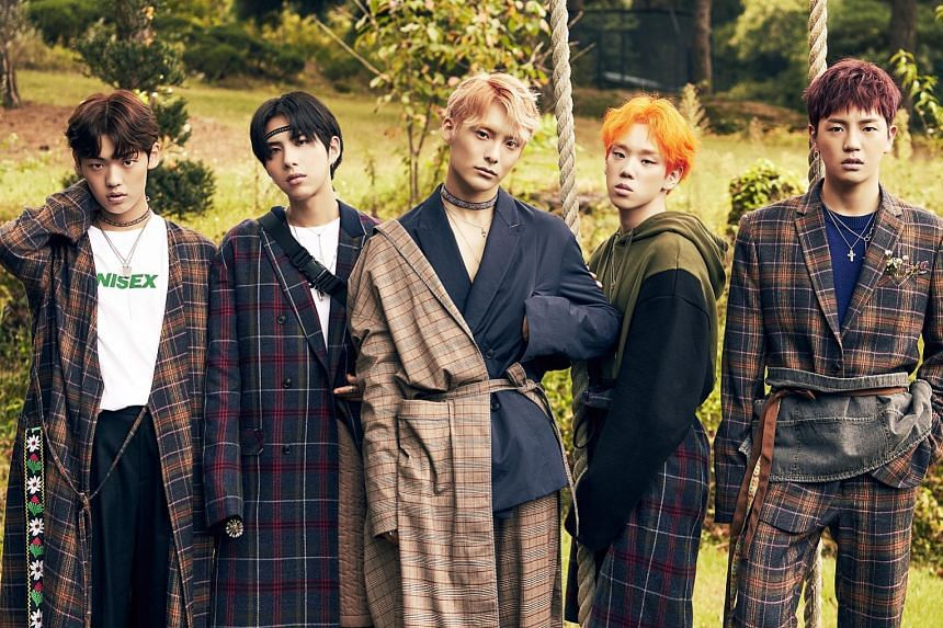 South Korean boy band A.C.E, comprising (above, from far left) Chan, Wow, Jun, Byeongkwan and Donghun, are known for their bold and colourful stage costumes.