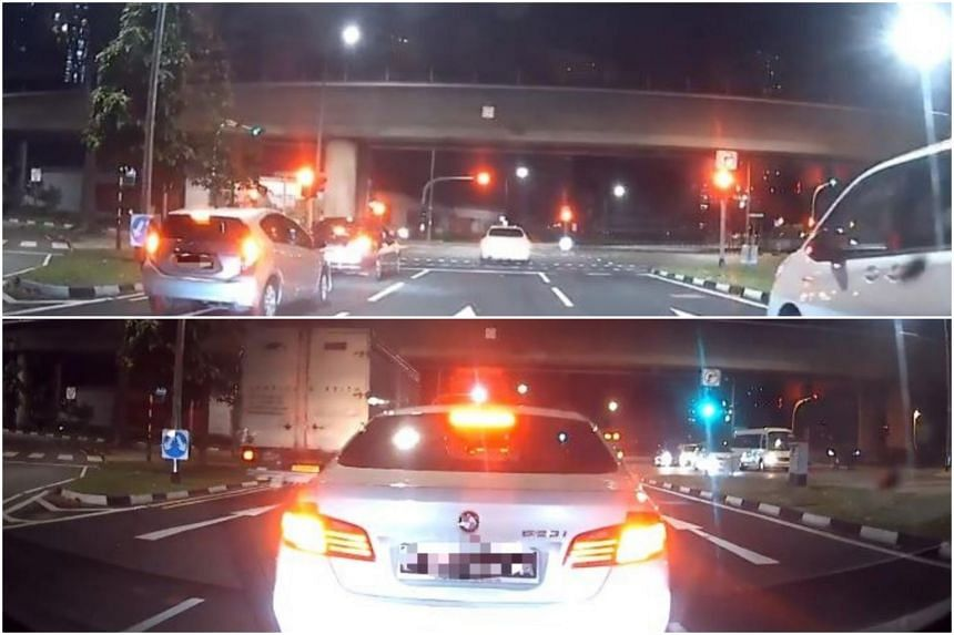 The car was stationary while the traffic light was green.
