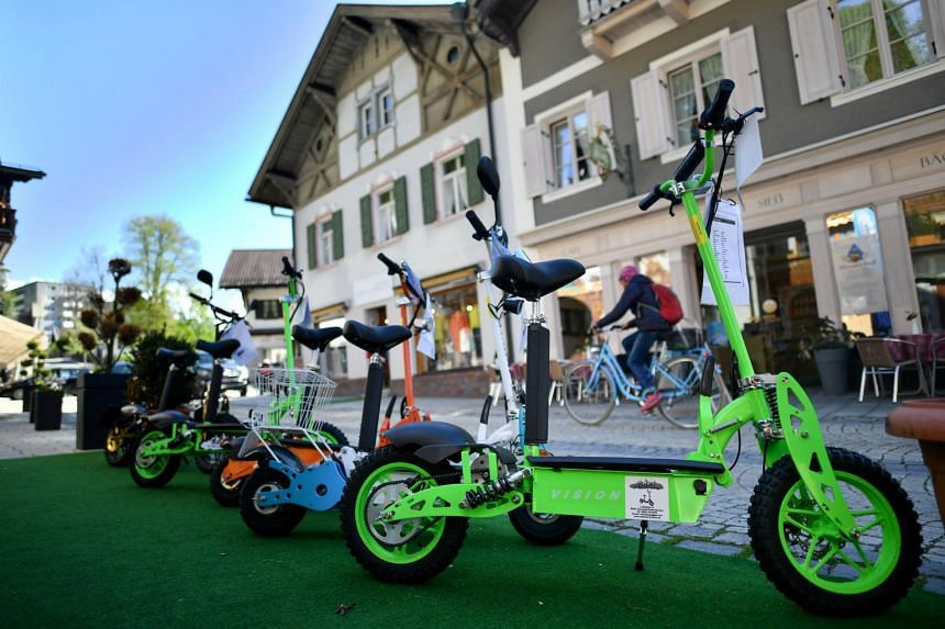 E-scooters on display at a shop in Garmisch-Partenkirchen, Germany, on May 7, 2019.