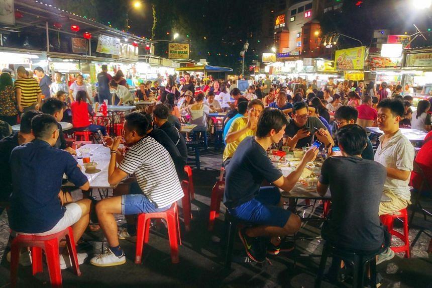 Hawker stalls at Penang's Gurney Drive waterfront.