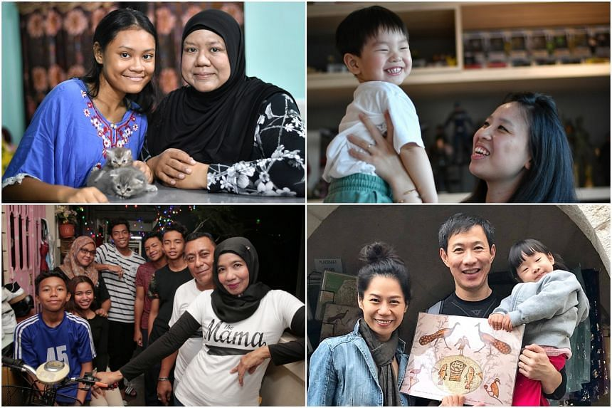 (Clockwise from top left) Ms Khalima Ahmad and her daughter Nurul Huda, Ms Jamie Lee and her son Noah Ong, Ms Lily Kew and her family, Madam Taksiah Razak and her family.