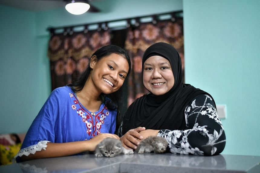 Student Nurul Huda,16, with her mother Madam Khalima Ahmad, 40, at their home on May 9, 2019.