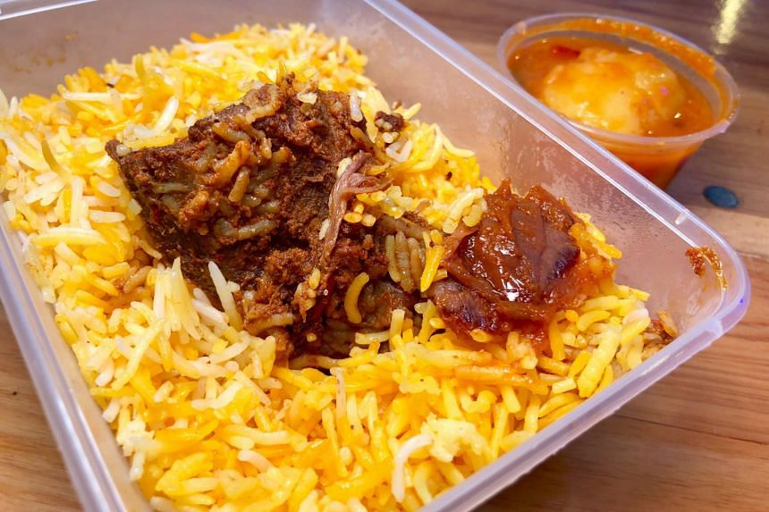 Priced at $4 per packet, the mutton biryani, which comes with a side of potato in dalcha (lentil stew), offers good value for money compared to other items at the bazaar.