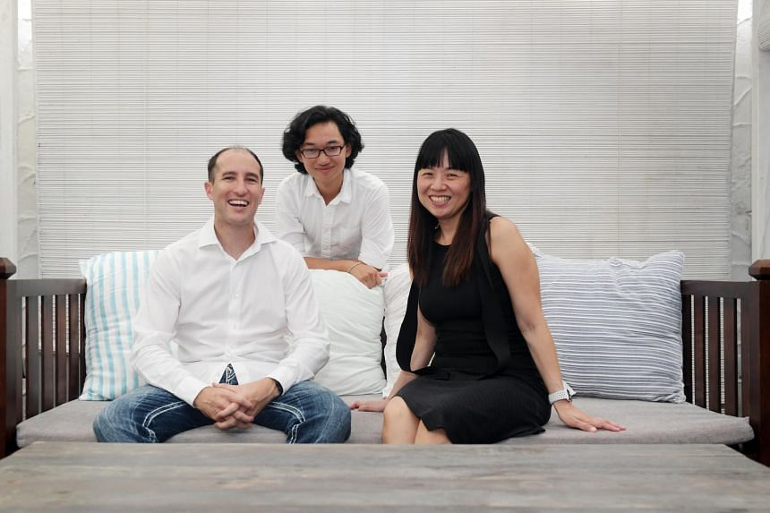 (From right) Ginny Phang-Davey, 41, her son Kieran Phang-Davey, 18, and husband Andrew Davey, 38.