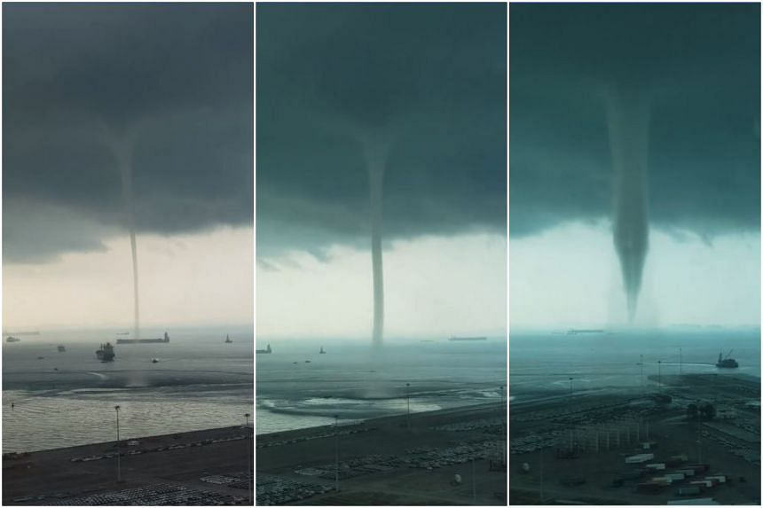 Ominous dark skies and clouds were seen in the background, with the waterspout extending from the clouds to the sea.