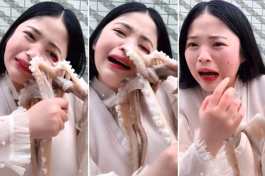 Screengrabs from a video clip that is being widely shared on Weibo this week showing a livestream host tussling with an octopus as she tries to eat it, and suffering some facial injuries in the process. Netizens have had mixed reactions to her antics