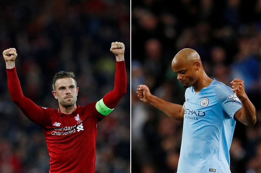 Liverpool's Jordan Henderson (left) and Manchester City's Vincent Kompany: Who will be the happier captain after tomorrow's matches?