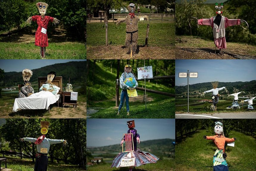 Various handmade scarecrows on display for the annual Scarecrows Fair last Friday in Castellar, a northern village in Italy. During the fair, villagers prepare their own scarecrows and put them in gardens, courtyards, fields and streets. PHOTO: AGENC