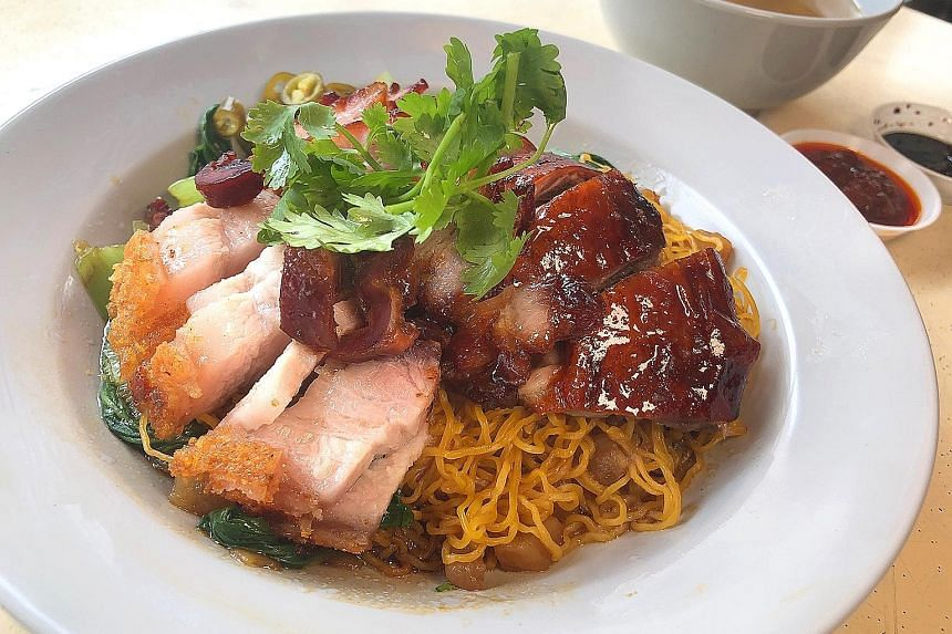 The Dang Gui Roasted Duck & Char Siew Noodle ($4.50), served with an additional $2 of Roasted Pork Belly.