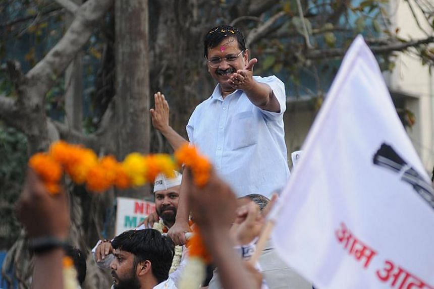 Aam Aadmi Party chief and Delhi Chief minister Arvind Kejriwal's road show in New Delhi, on May 1, 2019.