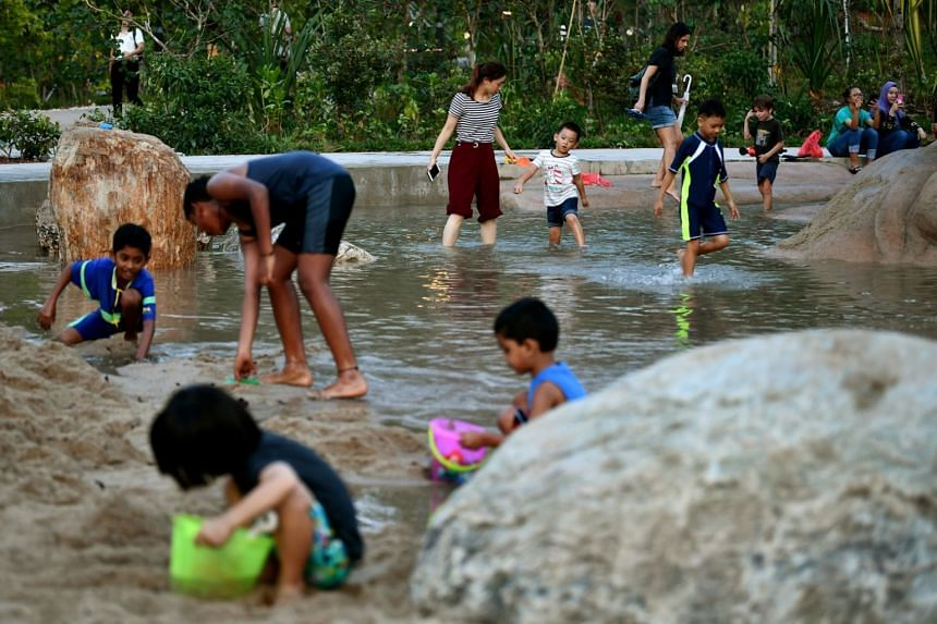 Children at the water play area of Clusia Cove at Lakeside Garden that is part of Jurong Lake Gardens, on May 4, 2019.