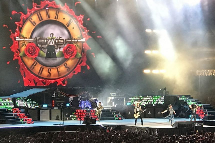 Guns N' Roses performing at the Changi Exhibition Centre in Singapore, on Feb 25, 2017.