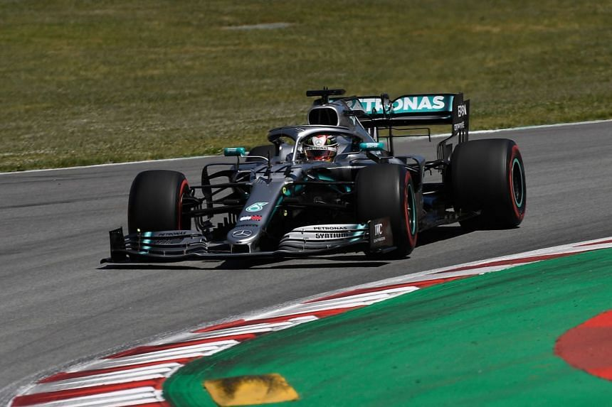 Mercedes' British driver Lewis Hamilton competes in the Spanish Formula One Grand Prix at the Circuit de Catalunya in Barcelona, on May 12, 2019.