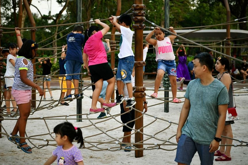 Children playing at the Forest Ramble at Lakeside Garden that is part of Jurong Lake Gardens, on May 4, 2019.