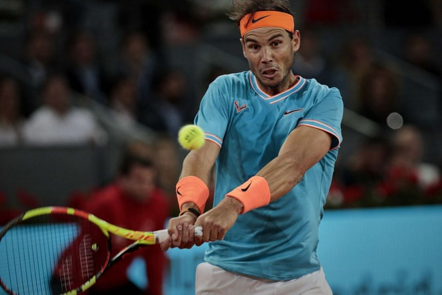 Spanish tennis player Rafael Nadal in action against Greece's Stefanos Tsitsipas during the Madrid Open tennis tournament at Caja Magica.