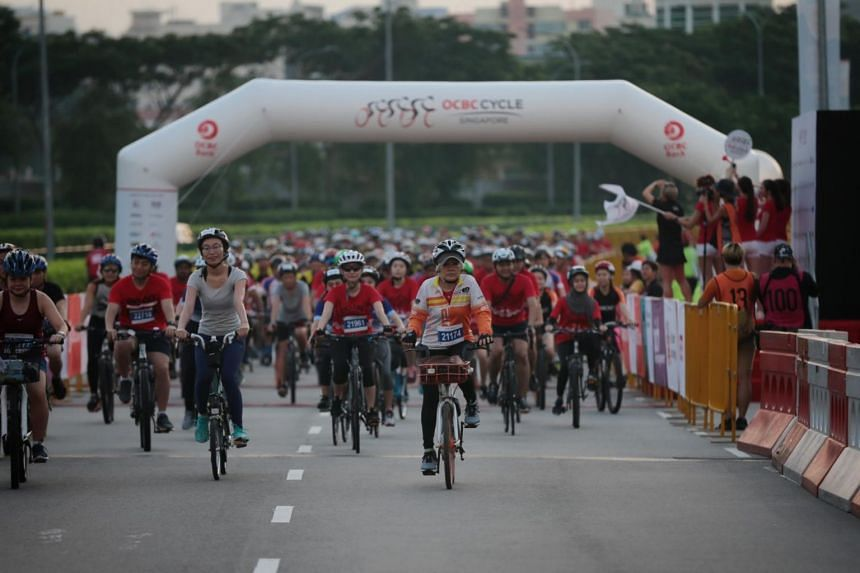 Cyclists participate in the Straits Times Ride during the OCBC Cycle 2019 on May 12, 2019.