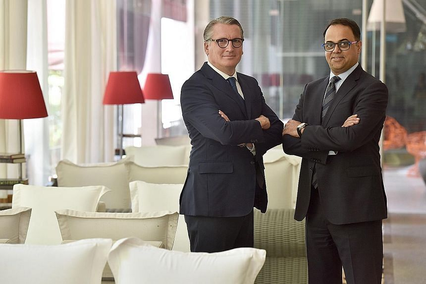 Mr Rajeev Menon (at right), chief operating officer at Marriott International for the Asia-Pacific (excluding Greater China), with Mr Victor Clavell, vice-president for luxury brands for the same region.