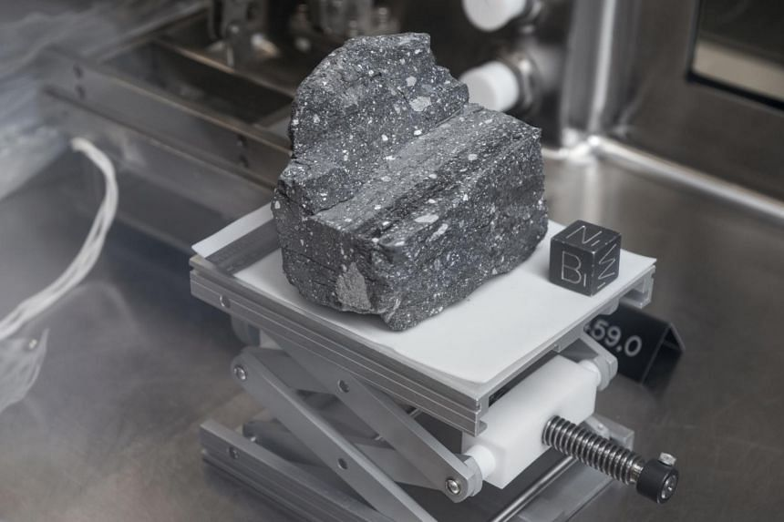 A large sample of moon rock i8s contained in airtight tanks at the Lyndon B. Johnson Space Centre in Houston on March 19, 2019. Three new samples are set to be released for analysis.