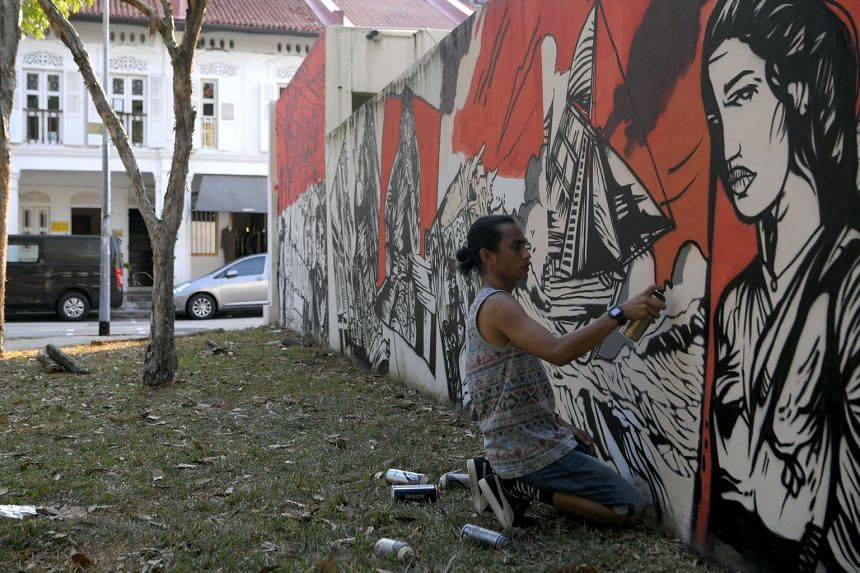 The Hikayat Masa Silam: Wak Cantuk mural, by artist Zul Othman, seeks to retell the tragic love story that not many know took place in Kampong Glam.