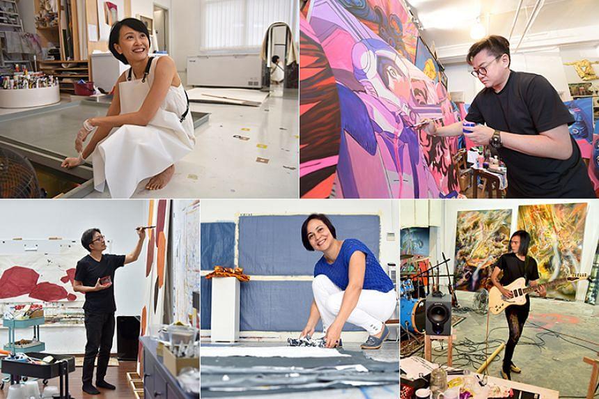 Artists (clockwise from top left) Dawn Ng, Jahan Loh, Ruben Pang, Kanchana Gupta and Tay Bak Chiang in their studios.