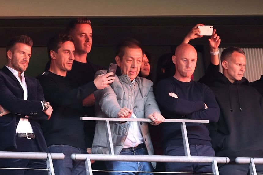 (From left) Salford City owners David Beckham, Gary Neville, Peter Lim, Nicky Butt and Ryan Giggs at the play-off final against AFC Fylde. PHOTO: REUTERS