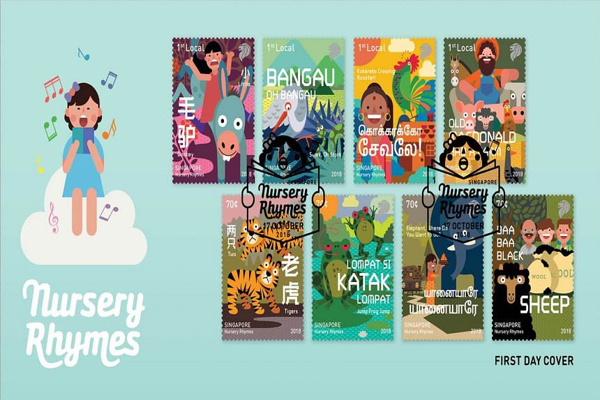 Designer Andy Koh's stamp collection, featuring nursery rhyme characters, won the top prize in the graphic design category.