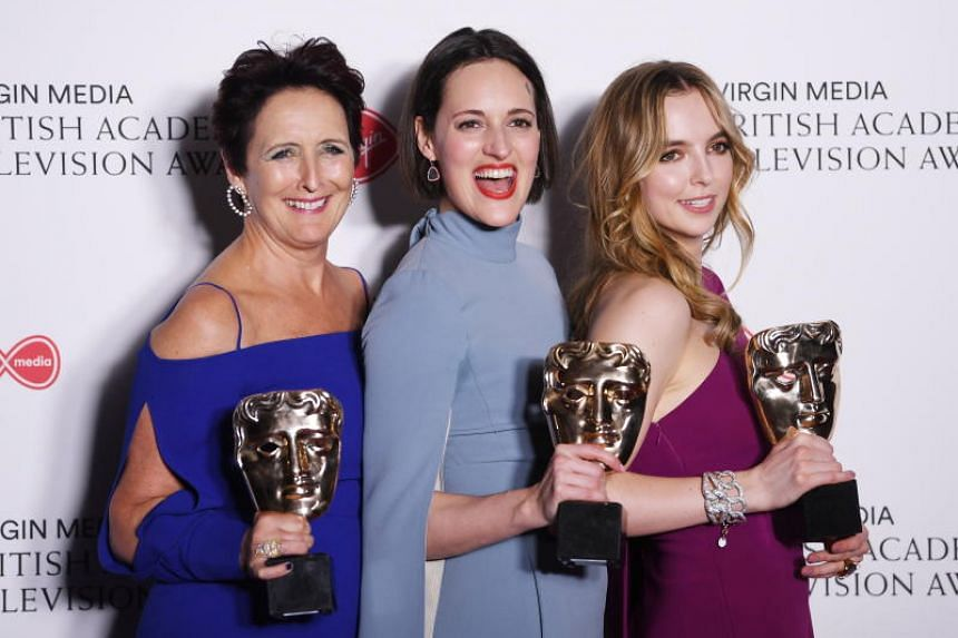 (From left) Fiona Shaw, Julia Davis and Jodie Comer with their awards for Killing Eve after the British Academy of Film and Television Arts TV Awards in London on May 12, 2019.
