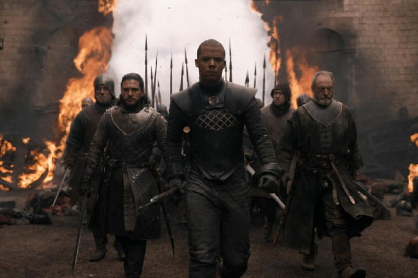 (From left) Kit Harington, Jacob Anderson and Liam Cunningham from a still in Game of Thrones Season 8, Episode 5.