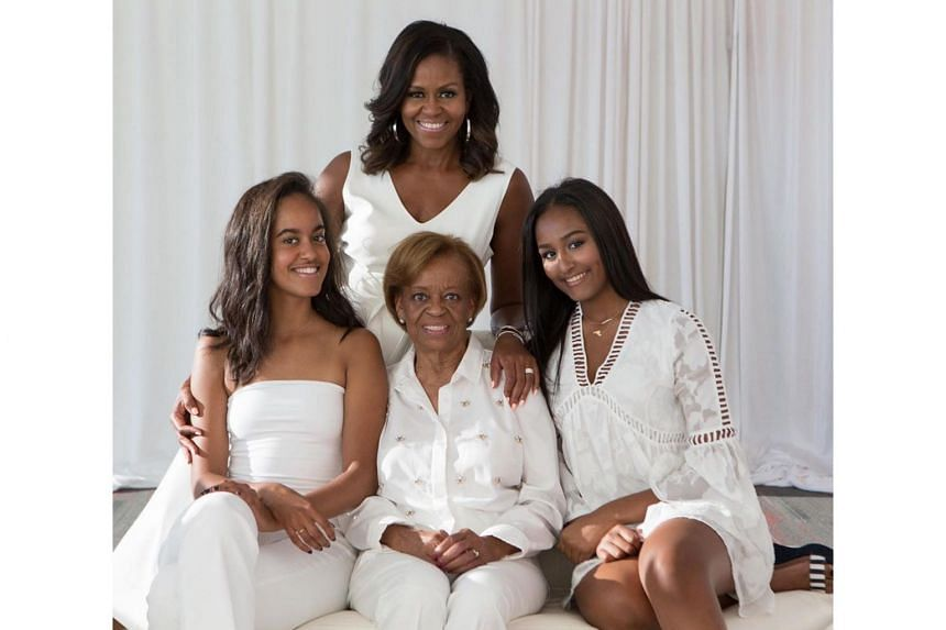 """In her tribute, Mrs Michelle Obama thanked her mother for allowing her to """"think for myself and develop my own voice""""."""