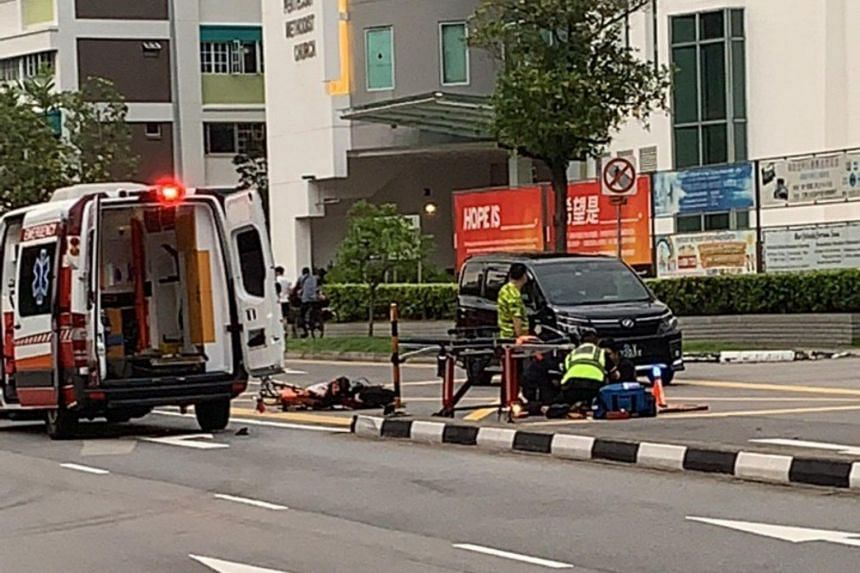 The two power-assisted bicycle riders, aged 19 and 25, were conscious when taken to Changi General Hospital.