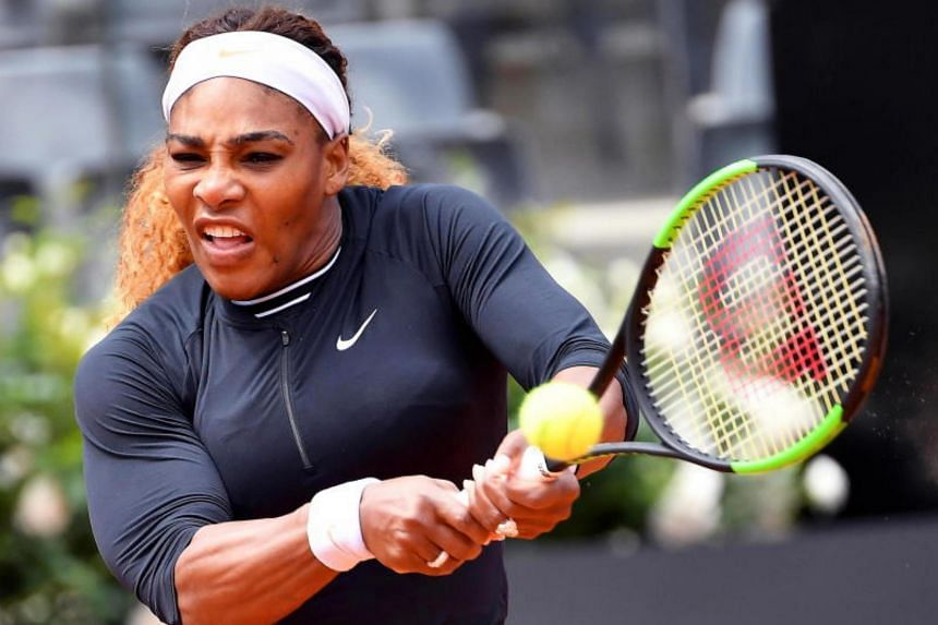 Serena Williams in action against Rebecca Peterson during their women's singles first round match at the Italian Open tennis tournament in Rome, Italy, on May 13, 2019.