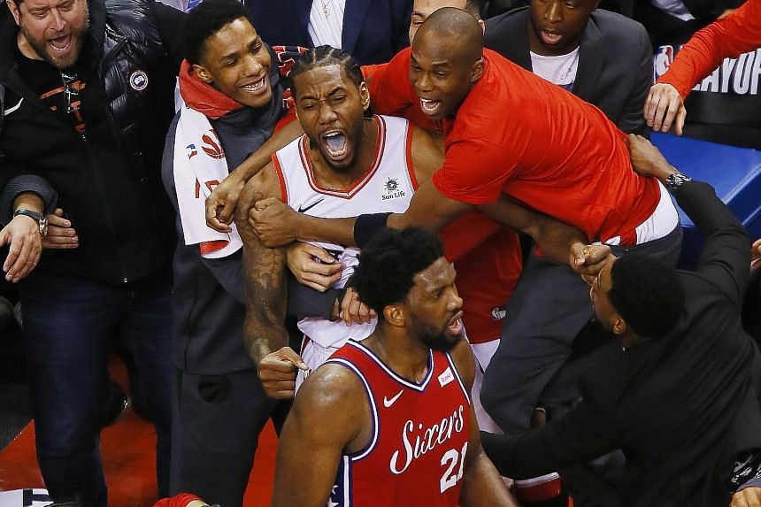 The normally stoic Kawhi Leonard celebrating his winning basket that helped Toronto beat Philadelphia 92-90 in Game 7 of the Eastern Conference semi-finals. PHOTO: REUTERS