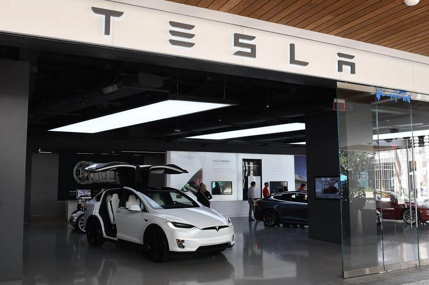 A Tesla showroom at a shopping mall in Los Angeles on April 25, 2019.
