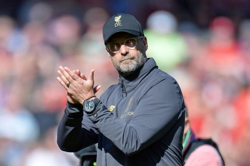 Liverpool's manager Jurgen Klopp reacts during English Premier League match between Liverpool FC and Wolverhampton Wanderers FC at Anfield, Liverpool, Britain, on May 12, 2019.