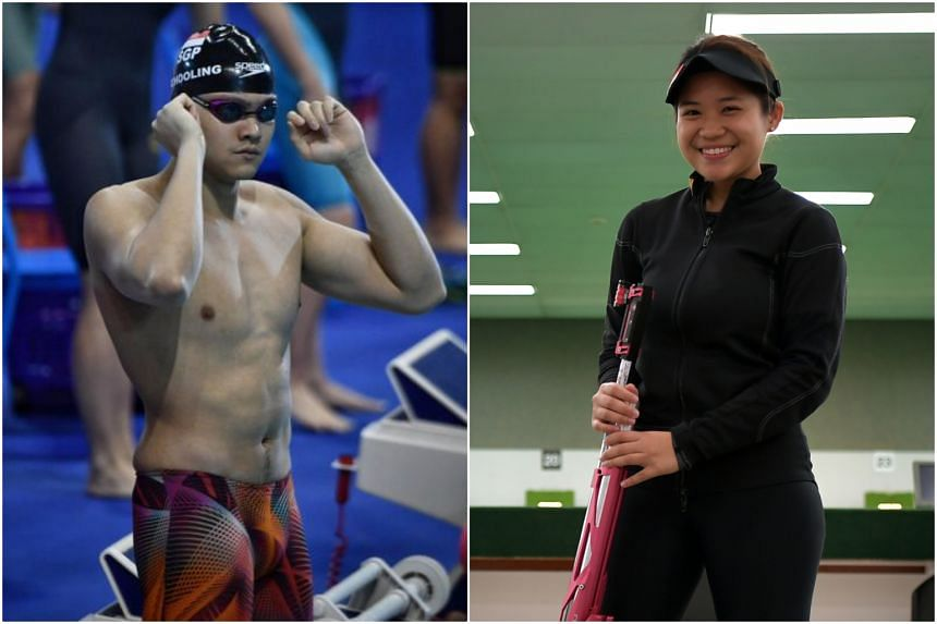 Swimmer Joseph Schooling (left) was named Sportsman of the Year, while shooter Martina Veloso claimed the Sportswoman of the Year award.