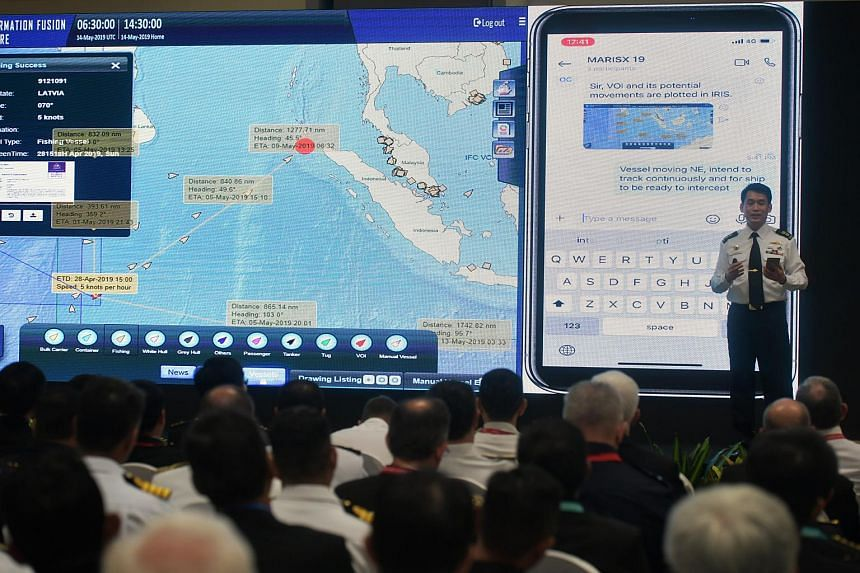 Lieutenant-Colonel Gary Ow, head of the Information Fusion Centre, demonstrating the capabilities of the updated portal at Changi Naval Base on May 14, 2019.