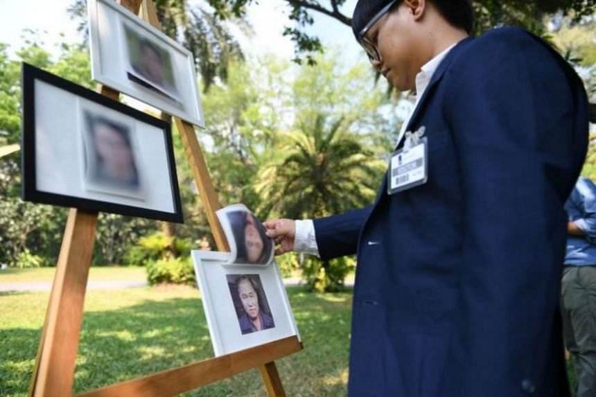 A portrait of missing Thai activist Surachai Danwattananusorn at a human rights forum at the Netherlands Embassy in Bangkok on March 12, 2019. The badly mutilated bodies of Mr Surachai's aides had been found in the Mekong River in December 2018.