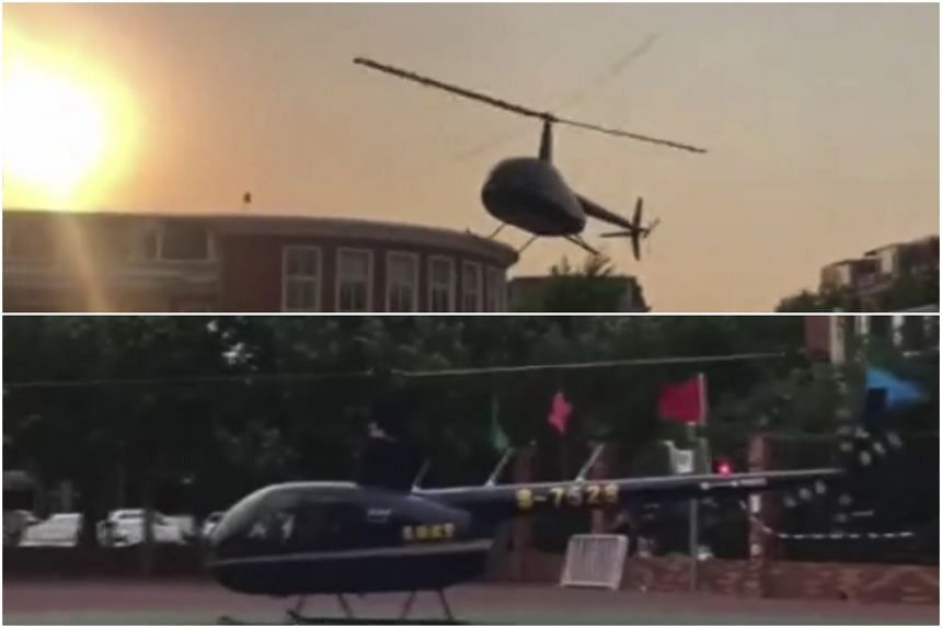 The father sent the helicopter to Fengdan Experimental Primary School in Beijing's Haidian district as part of the school's science festival.